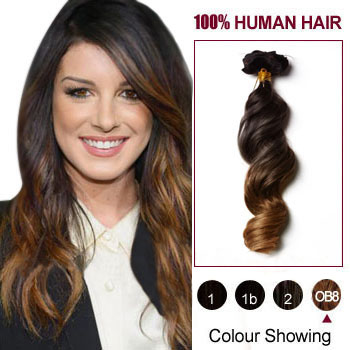 16 inches Two Colors  2 And  27 Wavy Ombre Indian Remy Clip In Hair 46e3c02c6c